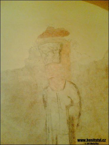Písek – kostel sv. Václava s freskou zobrazující upálení Jana Husa