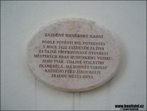 Brno – pamětní deska zazděnému radnímu