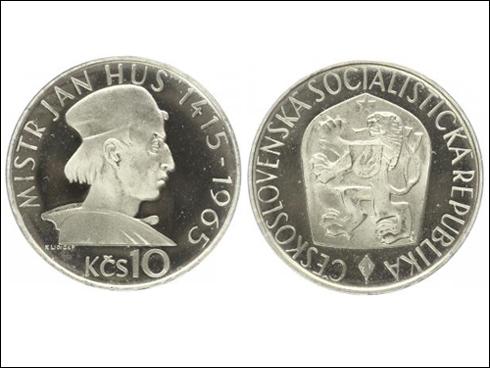 10 Kčs – 550. výročí upálení Jana Husa (Ag, proof, 1965)