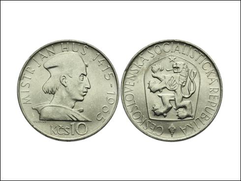 10 Kčs – 550. výročí upálení Jana Husa (Ag, b.k., 1965)