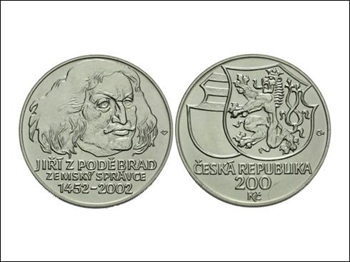 200 Kč – 550. výročí ustanovení Jiřího z Poděbrad zemským správcem (2002)