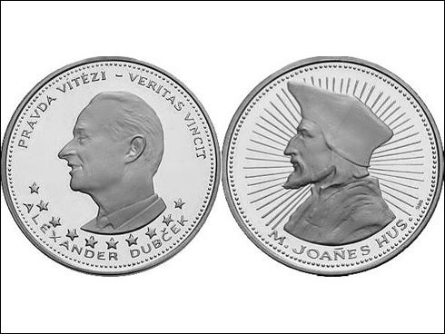 Medaile – Alexander Dubček, mistr Jan Hus