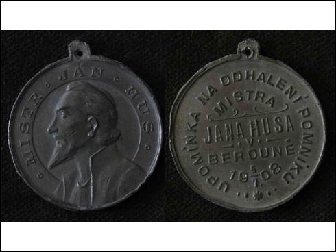 Medaile s ouškem – Upomínka na odhalení pomníku mistra Jana Husa v Berouně (1908)