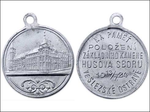 Medaile s očkem – Položení základního kamene Husova sboru v Slezské Ostravě (1924)