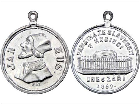 Medaile s ouškem – Památka ze slavnosti v Husinci (1869)