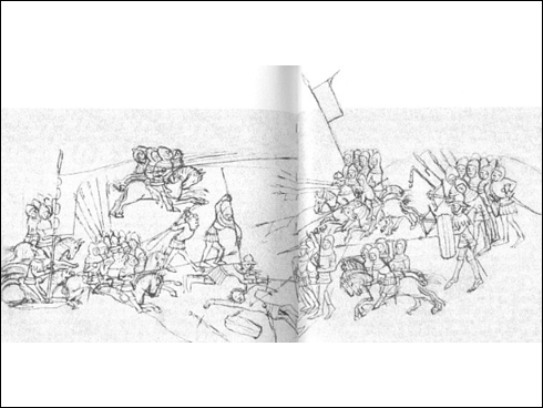Starý zákon (1430-40) - Vyobrazení bitvy