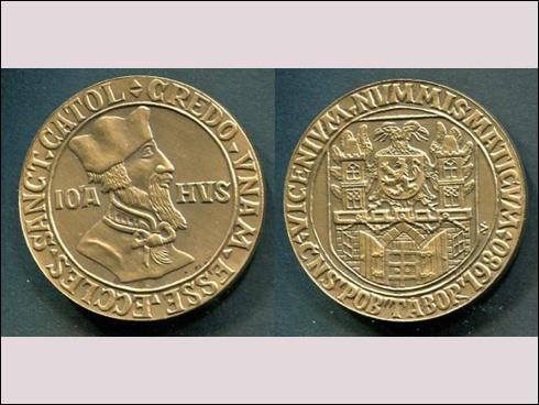 Neoficiální odražek Medaile – Jan Hus, ČNS Tábor (1980) v bronzu
