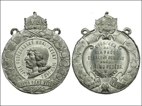 Medaile s oušky – Upomínka na slavnost odhalení pomníku králi Jiřímu z Poděbrad (1896)