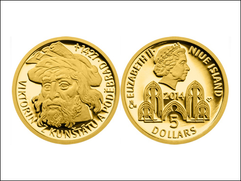 """5 dollars – sada 4 zlatých mincí """"Šlechtický rod pánů z Kunštátu a Poděbrad"""" (2014)"""