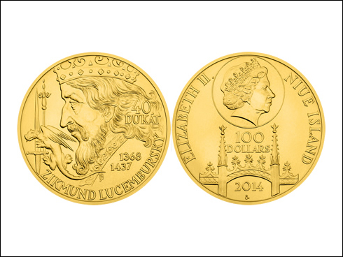 100 dollars – 40 dukát Zikmunda Lucemburského (2014)