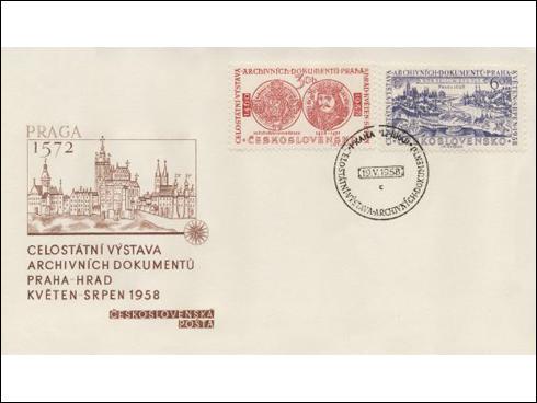 FDC – Celostátní výstava archivních dokumentů, Pečeť krále Jiřího z Poděbrad (1958)