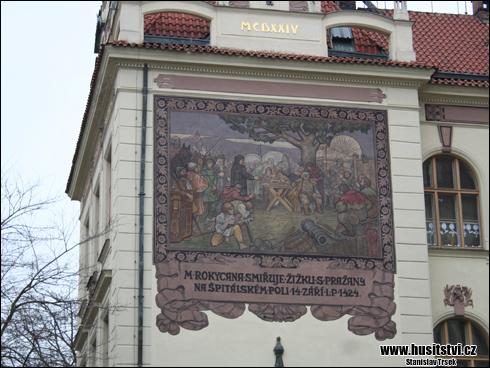 Praha Praha (Lyčkovo nám. a Kubova ulice) - dům s vyobrazením epizody usmíření Žižky s Pražany