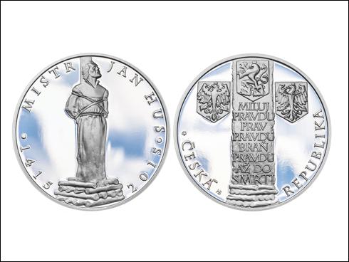 Dukát Jan Hus se stříbrným odražkem (2015)