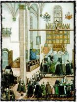 Mše pod obojí způsobou v kostele sv. Michala. Iluminace z Kancionálu literátského bratrstva (1587)
