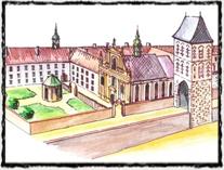 Někdejší Králův dvůr v Praze (pozdější stav), rezidence českých panovníků v pozdním středověku.  copyright http://www.praguecityline.cz