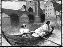 Útěk krále Václava IV. z vídeňského vězení v roce 1403. Romantická představa z 19. století. copyright http://g.denik.cz