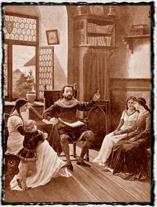 Tomáš Štítný ze Štítného vyučuje své dítky. Obraz J. F. Hetteše (1864 - 1927). copyright wikipedia