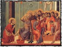 Kristus myje nohy učedníkům. O návrat k původní apoštolské církvi Wycliff i Hus usilovali. copyright wikipedia
