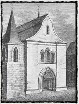 Obrázek Betléma z roku 1831. V této době již stavba několik desetiletí neexistovala. Nepříliš přesné vyobrazení tomu odpovídá. copyright http://prazskychytrak.cz