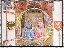 Král Václav IV. po boku své choti Žofie Bavorské, velké ochránkyně Jana Husa. Iluminace z Bible Václava IV. copyright http://upload.wikimedia.org