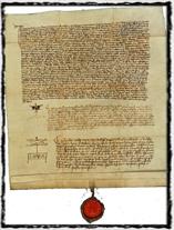 Jeden z mnoha notářsky ověřených opisů Dekretu Kutnohorského. Tento byl vytvořen roku 1414 pro potřeby Jana Husa. copyright http://ceskebudejovice.casd.cz