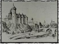 Roudnice nad Labem na panoramatu ze 14. století. copyright http://www.podripsko.cz