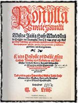 První strana vydání Husovy Postilly z roku 1564. copyright http://www.ateismus.com