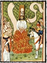 Ani v Jenském kodexu nechybí vyobrazení Husova upálení. Copyright https://upload.wikimedia.org
