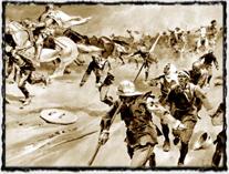 Křižáci prchají před husitským vojskem. Obraz Jana Gotha. Copyright http://malotridka.wz.cz