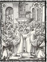Luther a Hus podávají saským knížatům podobojí (rytina z 16. století).