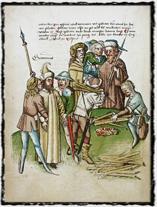 Upálení Jeronýmovo dle kroniky Ulricha Richenthala (15. stoleti).