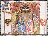Václav IV. po boku své druhé manželky Žofie Bavorské (Bible Václava IV., sklonek 14. věku)