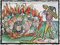 Pro středověkou inkvizici se upálení stalo jedním z jejích hlavních znaků, jímž netrpěli pouze kacíři, ale i Židé (dřevoryt z konce 15. století)