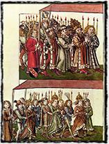 Král Zikmund, jeho žena Barbora Celjská a dcera Alžběta na koncilu v Kostnici (dílo z první poloviny 15. století)