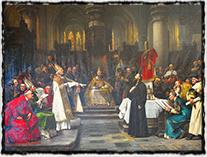 Mistr Jan Hus před koncilem kostnickým (malba Václav Brožík, 1883)