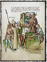 Upálení Jeronýma Pražského (vyobrazení z kroniky Ulricha Richenthala, 15. století)