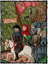 Žižka v čele svých vojsk (Jenský kodex - iluminace z 15. století)