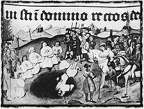 Kutnohorští vrhají zajaté husity do šachet - jeden z mnoha incidentů, jenž také donutil husity sáhnout po světském meči (vyobrazení z 15. století)