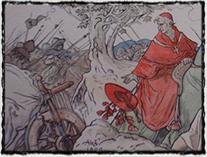 Útěk legáta Cesariniho od Domažlic (kresba M. Aleš)
