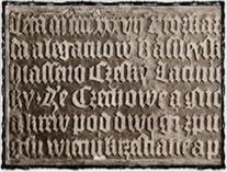 Kompaktátní deska kaple Božího těla, která kdysi stála v Praze na Dobytčím trhu (nynější Karlovo nám.), s citátem usnesení Basilejských kompaktát v češtině