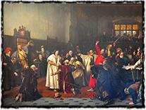 Volba Jiříka z Poděbrad českým králem na monumentálním obraze Václava Brožíka z r. 1898.