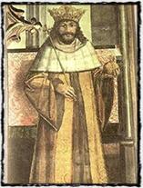 Král Vladislav - malba ze Svatováclavské kaple Pražského hradu (Mistr Litoměřického oltáře, r. 1509).