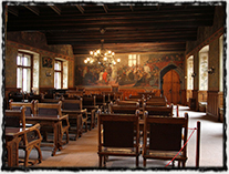 Zasedací místnost Vlašského dvora v Kutné Hoře, kde byl zvolen českým králem Vladislav II. Jagellonský.