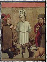 Obraz Jana Husa z doby kolem r. 1486 na jednom z křídel oltáře z kostela sv. Václava v Roudníkách u Chabařovic.