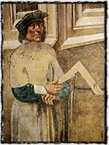 Mistr Litoměřického oltáře, kolem r. 1510 - pravděpodobný portrét Benedikta Rejta z nástěnné malby ve Svatováclavské kapli katedrály sv. Víta.