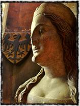 Císařovna Alžběta Pomořanská (busta z triforia katedrály sv. Víta).