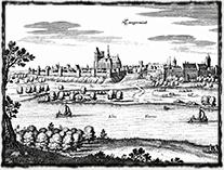 Tangermünde na obrazu ze 17. století (kresba Matthäus Merian).