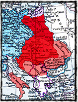 Rozsah uherského státu za vlády krále Ludvíka. Světle červeně jsou vyznačeny oblasti, které k Uhrám připojil Ludvík.