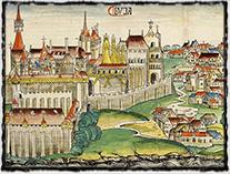 Budín, hlavní sídlo Zikmunda coby uherského krále (vyobrazení pochází z roku 1493).