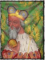 Moravský markrabě Jošt, bratranec Zikmunda a jeho dlouholetý politický rival (výřez z Olomoucké právní knihy, cca rok 1430).